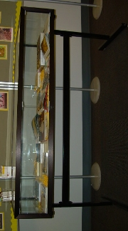 A front view of the display case