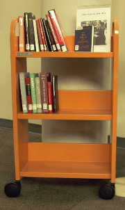 Orange display book cart