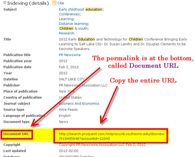 Permalink Proquest Databases
