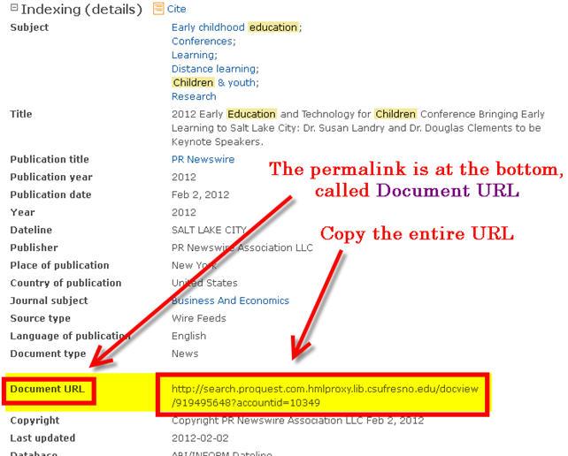 Permalink Proquest Databases
