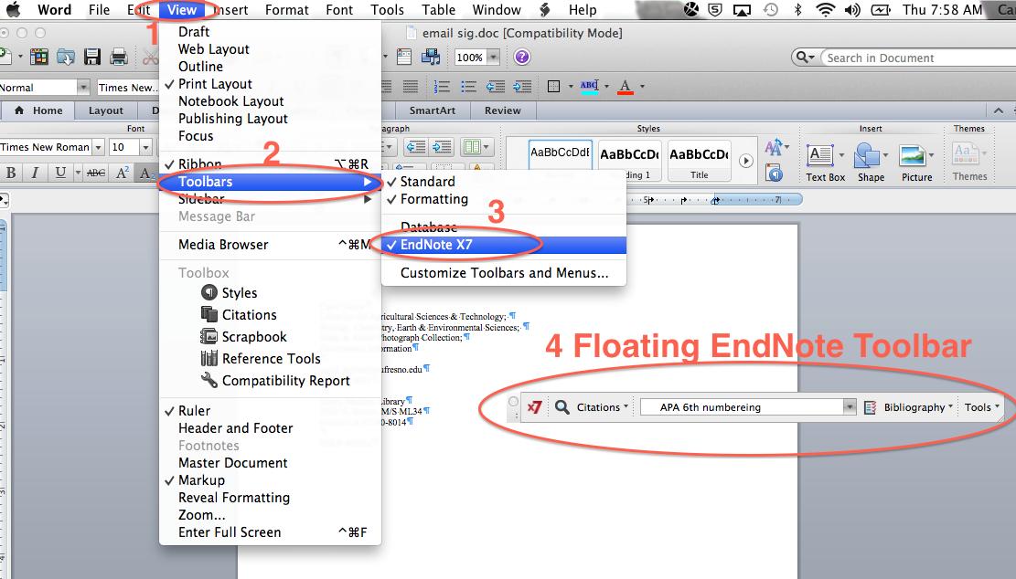 Mac's Floating EndNote Toolbar
