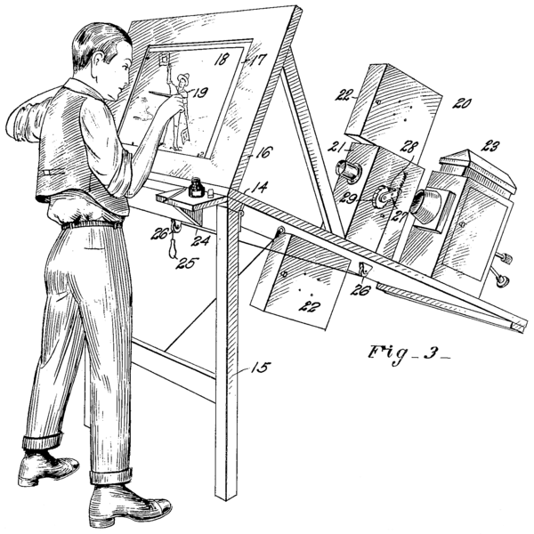 1915 patent drawing for a rotoscope