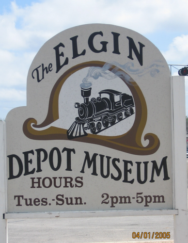 Sign for Elgin Depot Museum