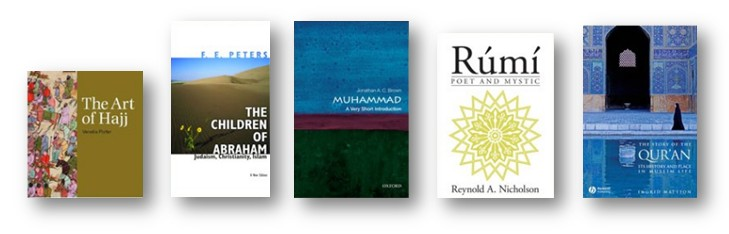 Book jackets for Muslim Journeys Bookshelf