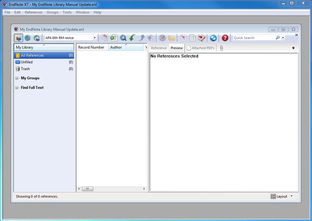 screenshot endnote library