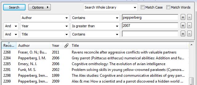 screenshot endnote library search results