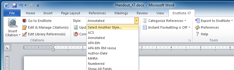 screenshot word endnote tools menu