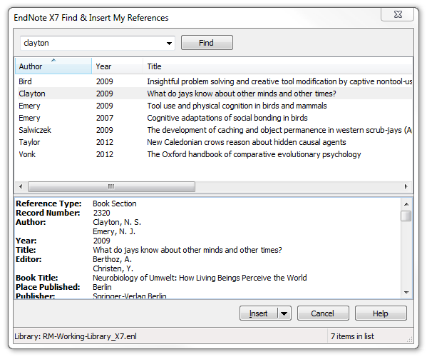 screenshot endnote find & insert reference
