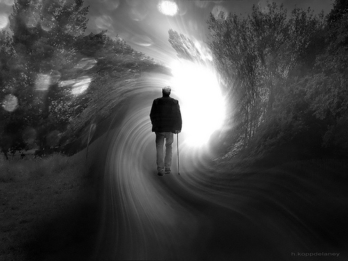 Man in a light tunnel