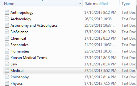 screenshot endnote term lists