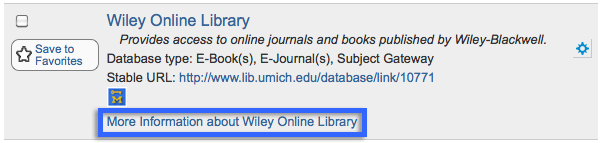"Screenshot of the ""Wiley Online Library"" entry from http://www.lib.umich.edu/searchtools#databases/search/in-title/wiley%20online%20library"