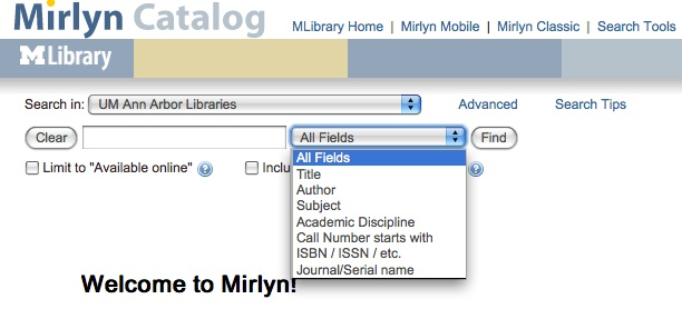 Mirlyn Basic Search