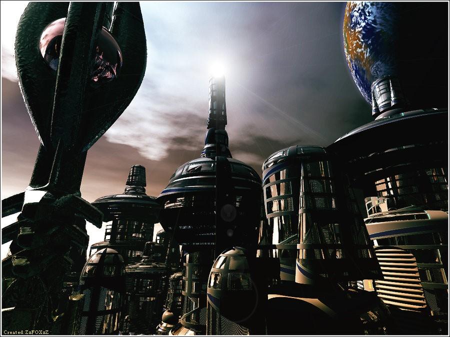 Bladerunner like city landscape