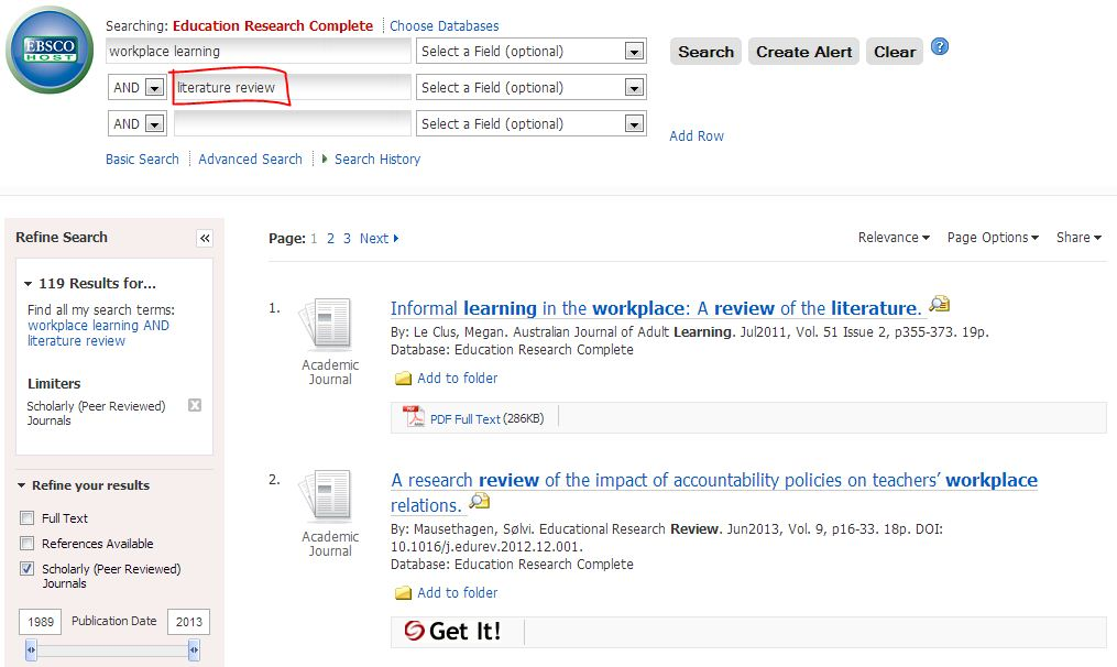 """Screenshot of search in Education Research Complete using keywords """"workplace learning"""" and """"literature review""""."""