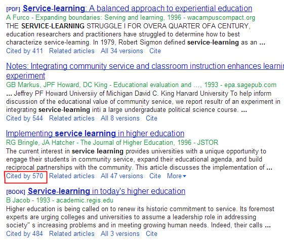 Screenshot of Google Scholar search with Cited by link highlighted.