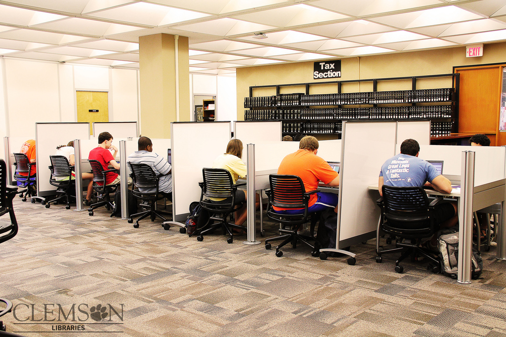 students at individual study areas