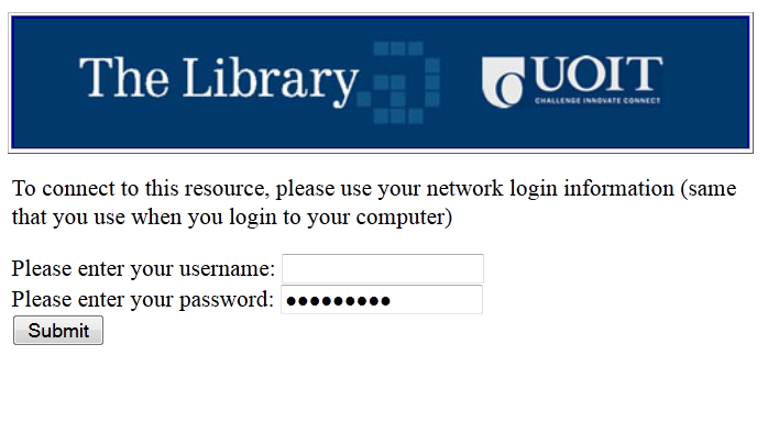 Username and Password Screenshot