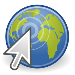 Online learning icon of globe with an arrow