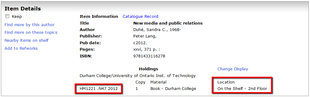 Screenshot of a Record in the library catalogue