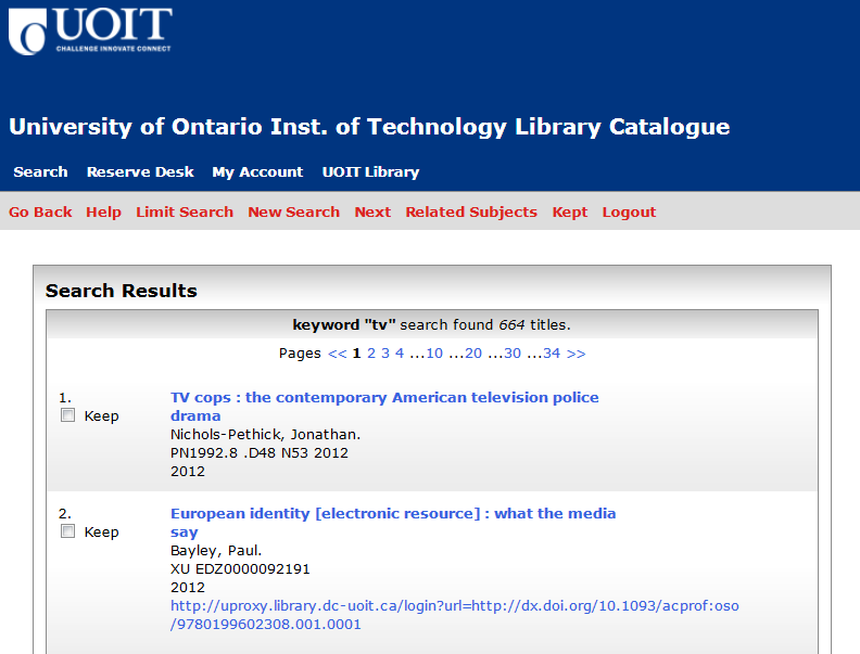 Screenshot of Keyword Search Results in the library catalogue