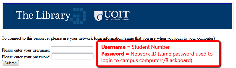 Screenshot of required Login Information