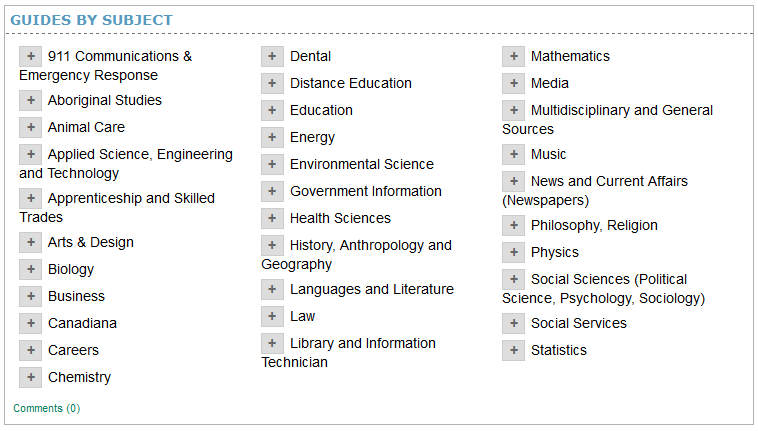 Screenshot of subject guides by subject