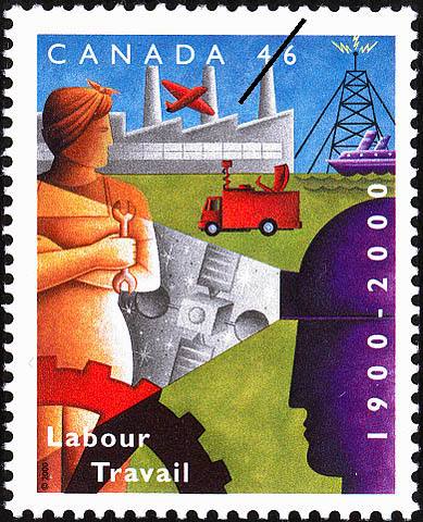 Labour/Travail 1900-2000 postage stamp