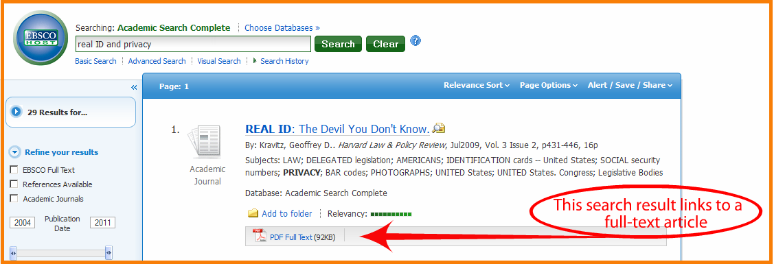 example of EBSCO search with PDF full text article link