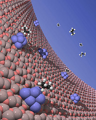 Clusters of 8-10 platinum atoms deposited in the pores of an aluminum oxide membrane.