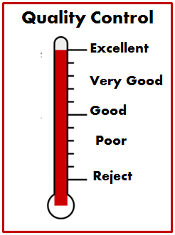 Image of a thermometer labeled Quality Control with measurements ranging from excellent at the top to reject at the bottom