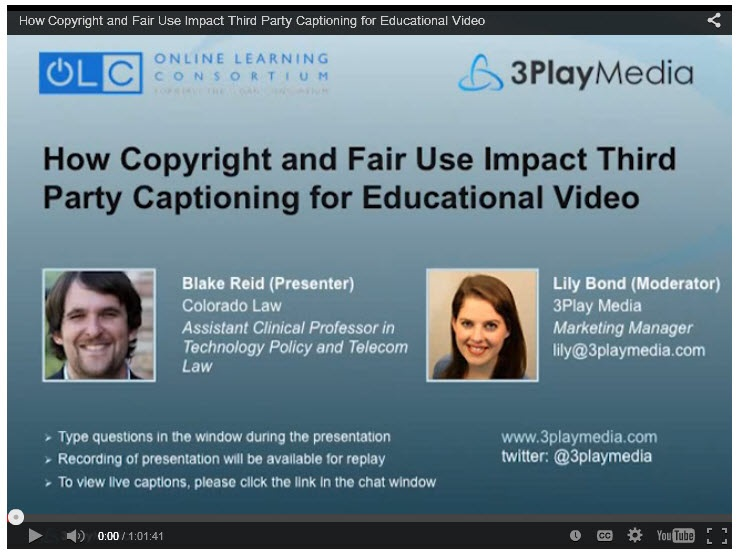 Copyright video screen