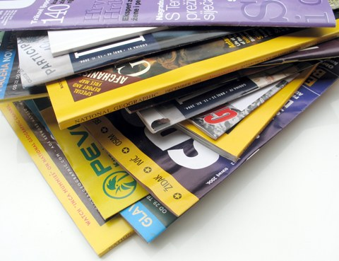 Stack of journals/magazines