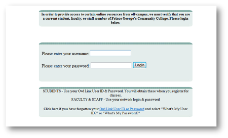 Off-Campus Database Login Page