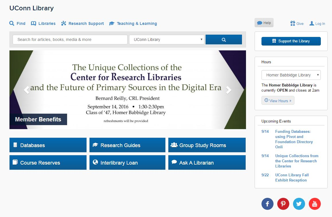 uconn library homepage