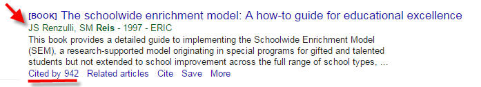 Snapshot of Google Scholar results with the Cited by highlighted