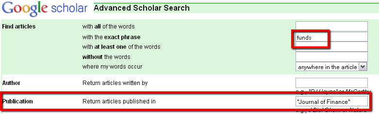 A publication-restricted search only returns results with specific words from a specific publication.