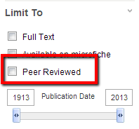 image of database limiter for peer-reviewed articles