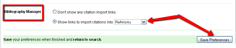 In your settings you can choose a Bibliographic Manager, like RefWorks, as one of your Scholar preferences