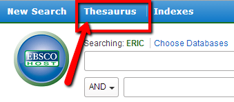 ERIC Thesaurus is located in the blue toolbar