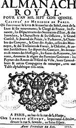 Page de titre de l'Almanach royal, 1715