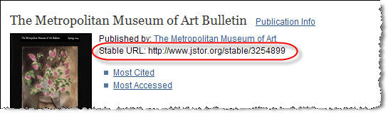 Locating the Stable URL link in JSTOR