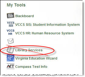 """Library Services"" link on myNOVA main menu"