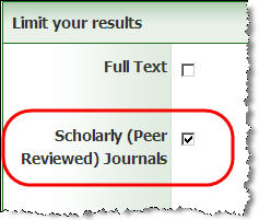 Option to limit search to peer reviewed journal articles in the Academic Search Complete database