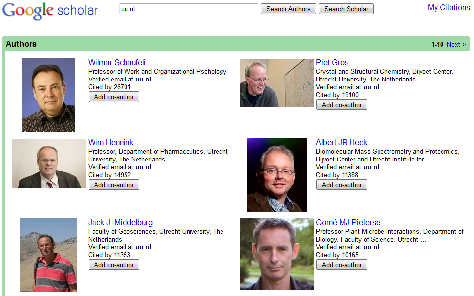 Google Scholar Citation Utrechters