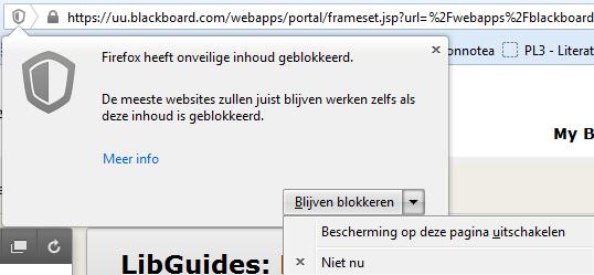 Beveiliging voor pagina uitschakelen in Firefox