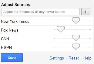 personalisatie van bronnen in Google news