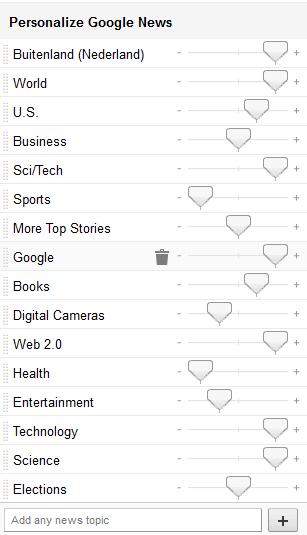 personalisatie van onderwerpen in Google news