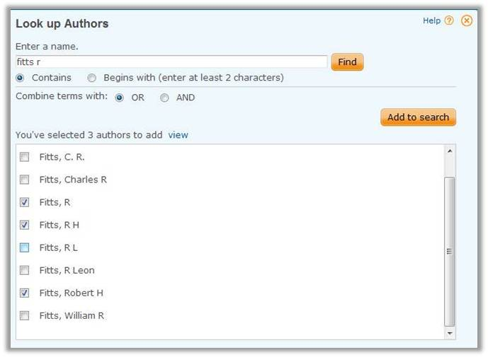 Select the appropriate versions of the author's name and click Add to Search