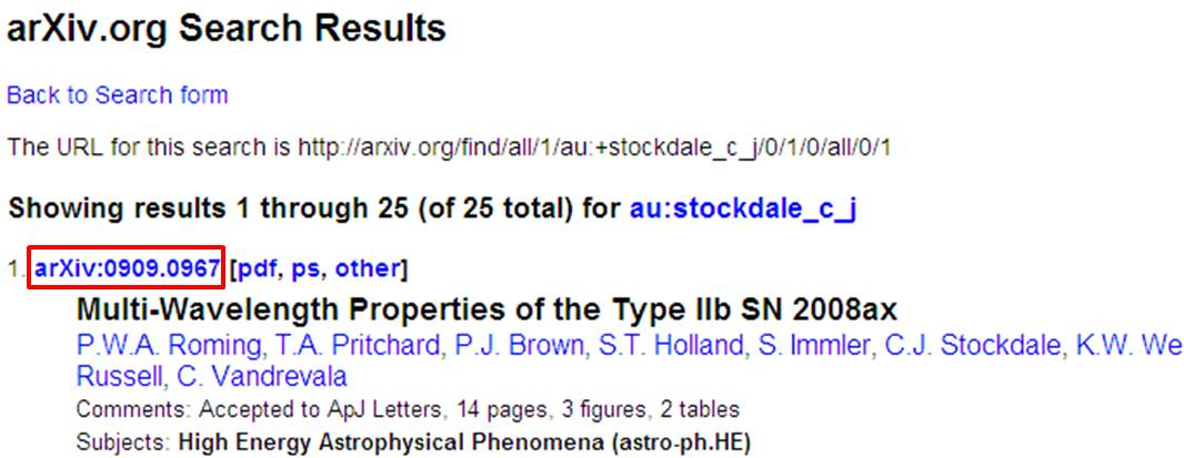 Example screen showing location of arXiv id number
