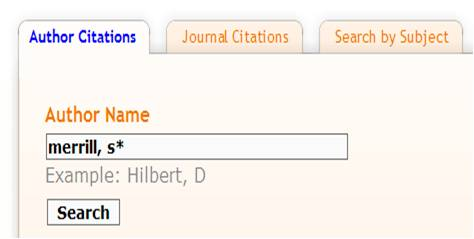 Screen example showing how to enter and author search
